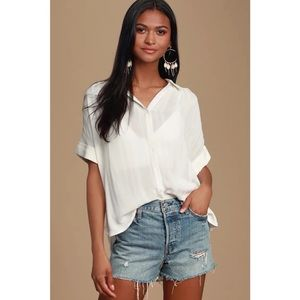 NWT Lulu's Everlee White Striped Button Up Blouse